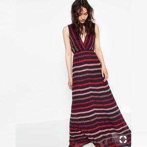 Zara Knit Glitter Stripe Maxi Surplice Dress